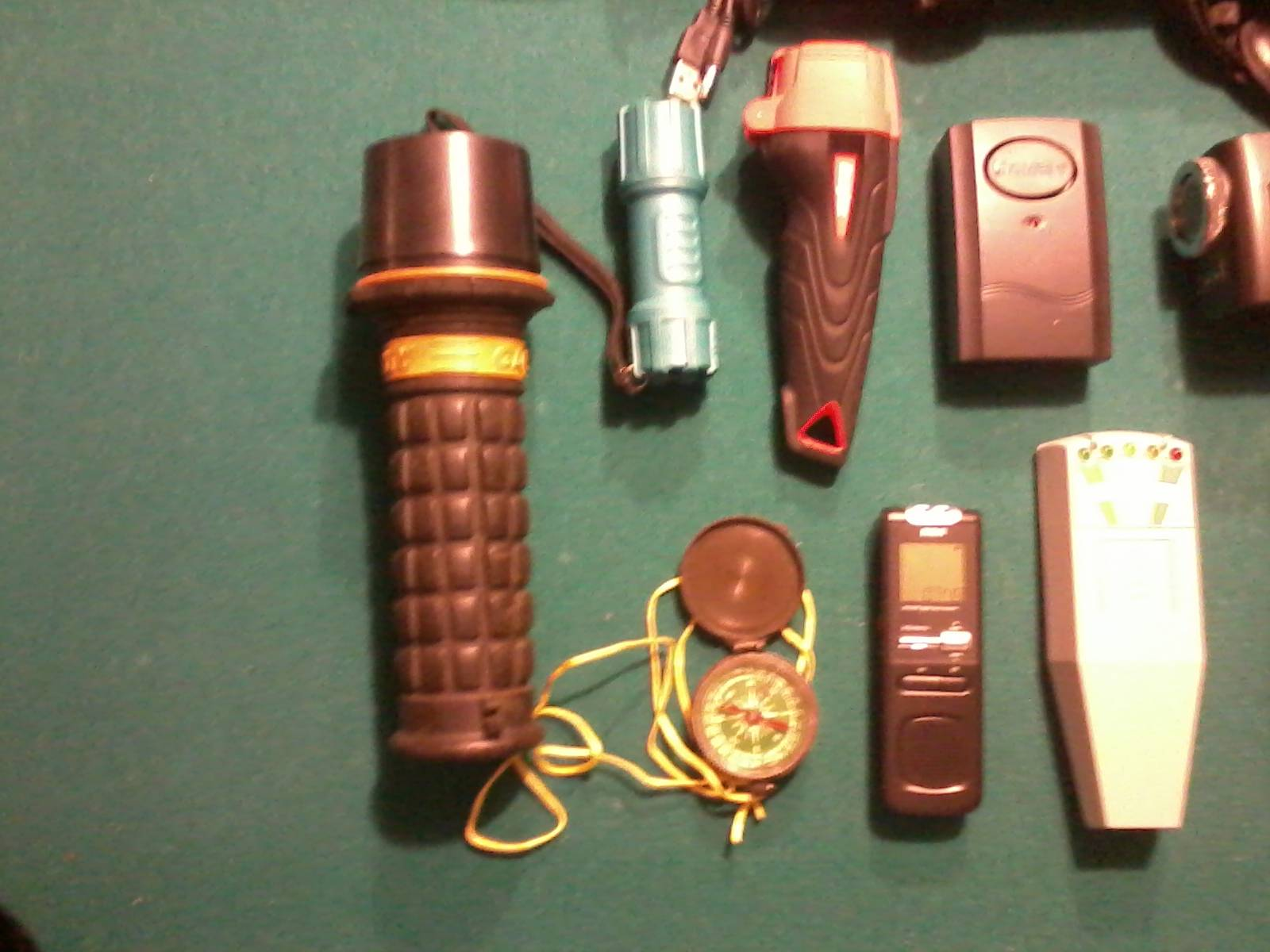 Flashlights, KII Meter, Compass, EVP Recorder, IR Flashlight, Vibration Detector