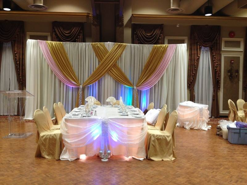 wedding backdrop pink and gold