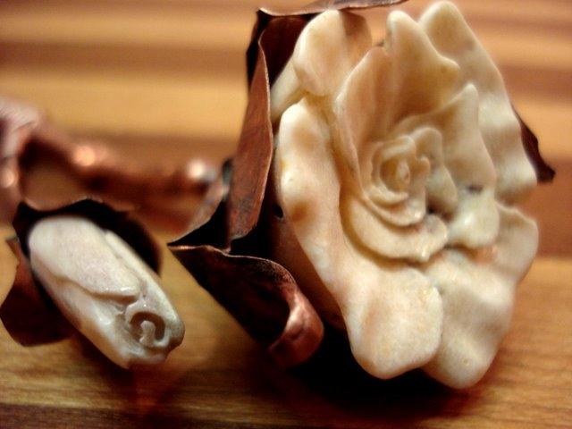 Deer Antler & Copper Rose Detail