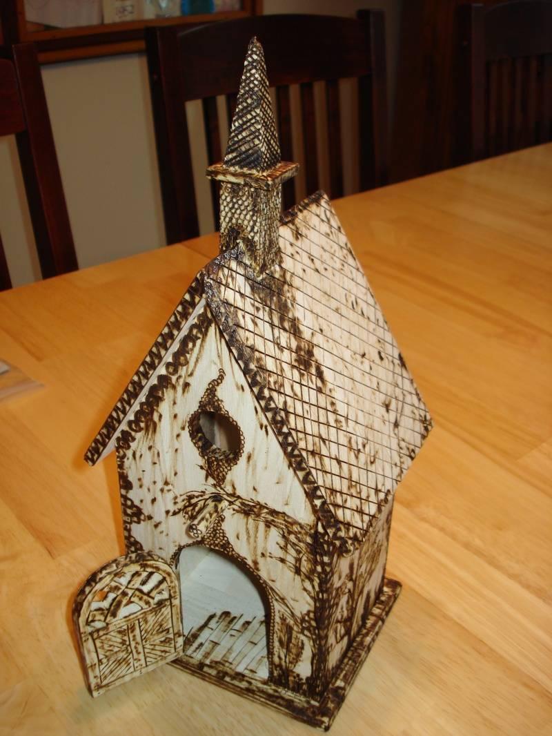 Wood burned Bird House