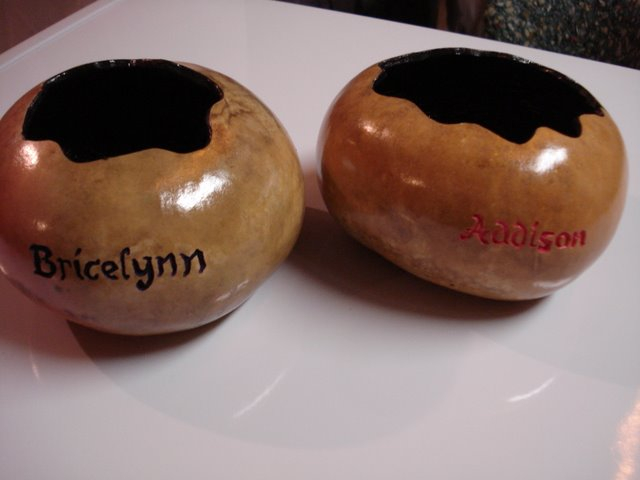 Carved and painted gourd bowls