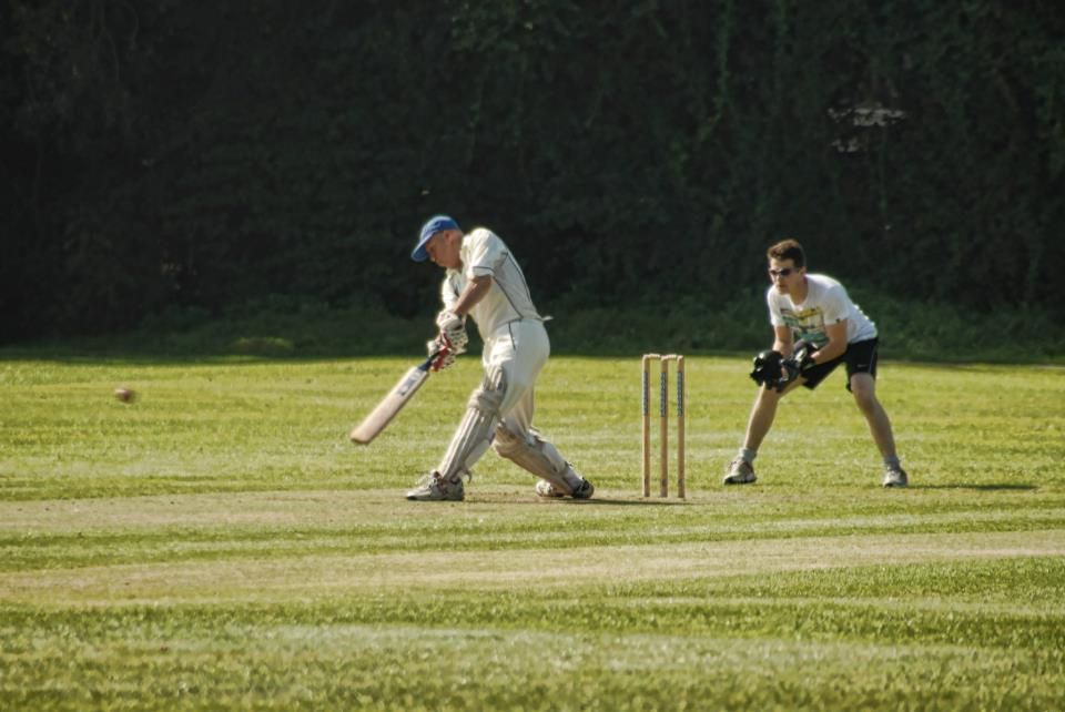 James hits the ball along the ground again
