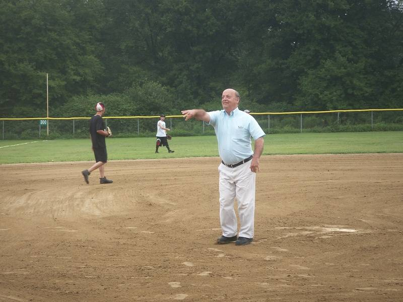 Mayor Crowley throwing the first pitch
