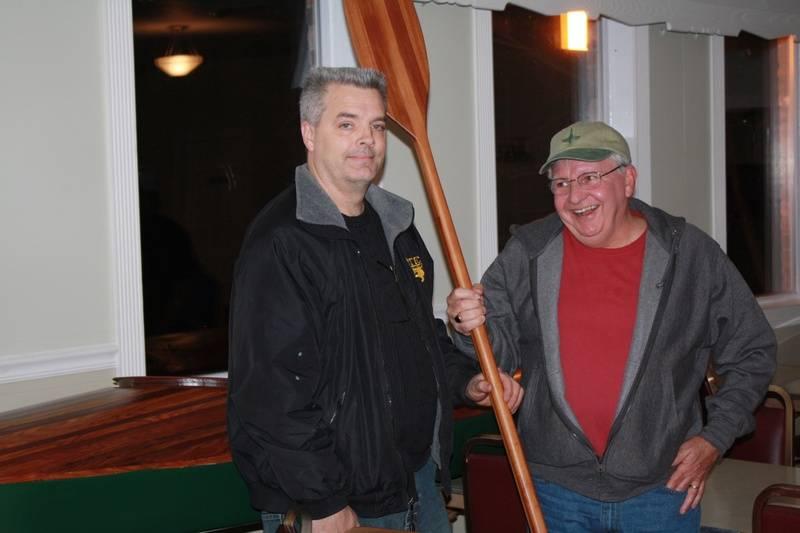 Kayak raffle winner, Mark Howes with kayak builder, Jim Keenan