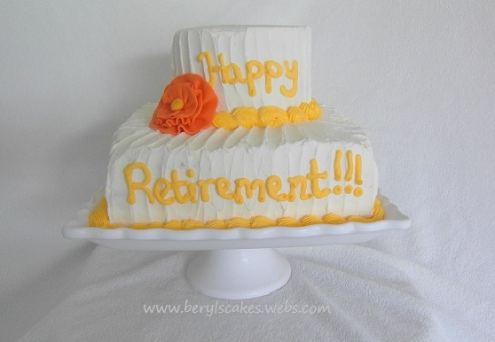 Retirement cake with a ruffle rose