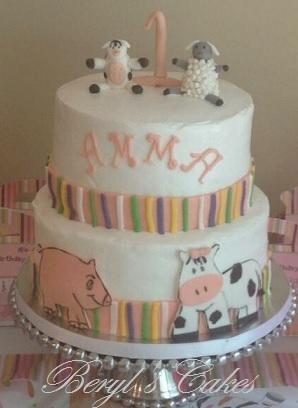 Farm Animals Themed Cake