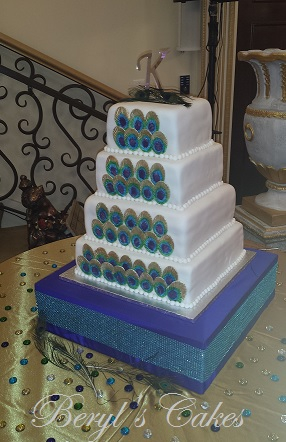 Peacocok Feathers Wedding  Cake
