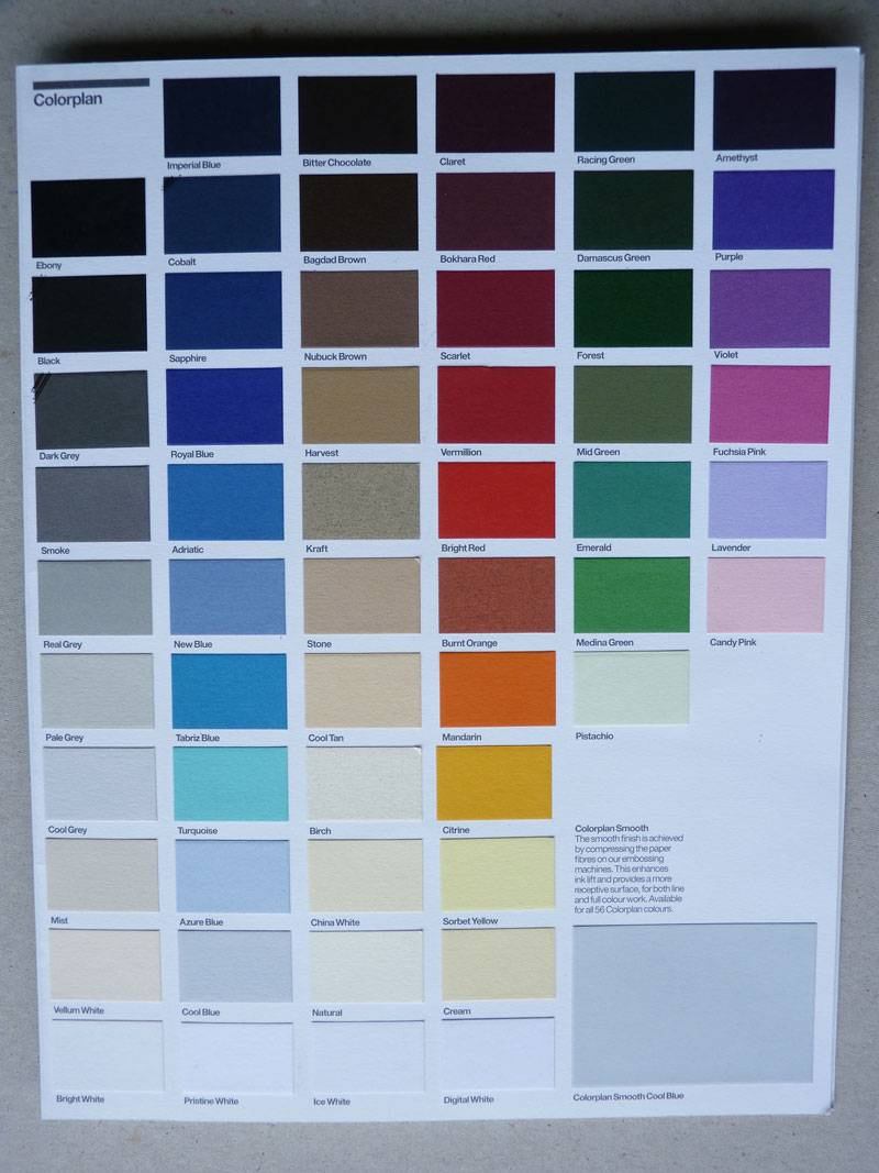 Coloplan 540gsm card colours
