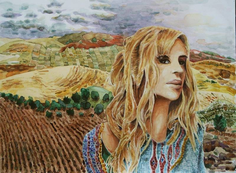 Watercolor, lady and landscape