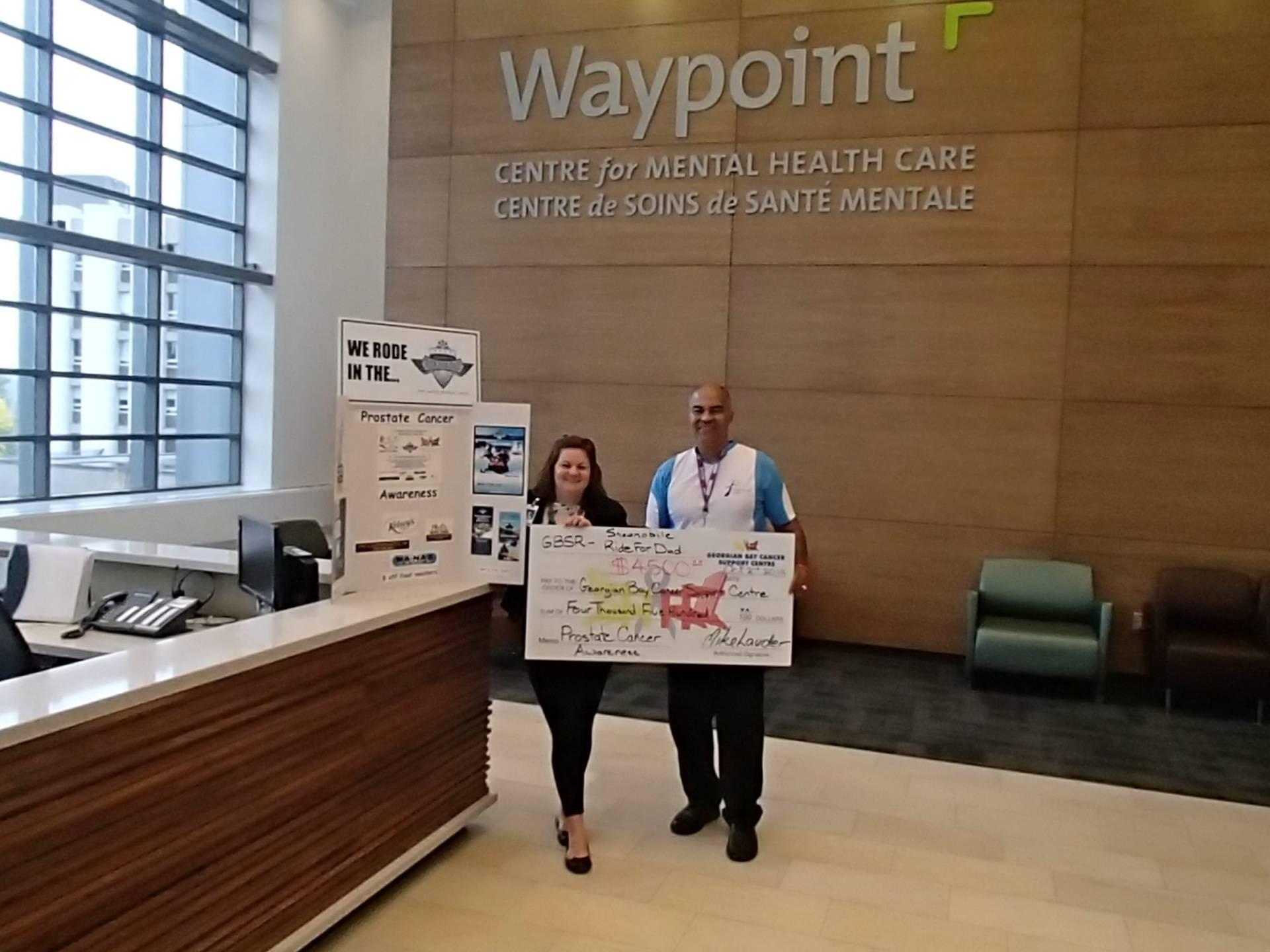 Cheque presentation at Waypoint Centre