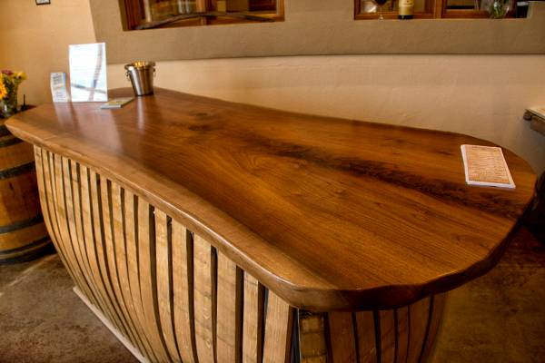 Beautiful black walnut table tops at one of the wineries.
