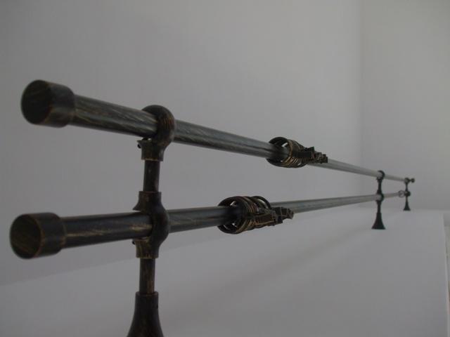Galerie perde si draperie montat in living  forma rotunda cu prindere in  trei suporti