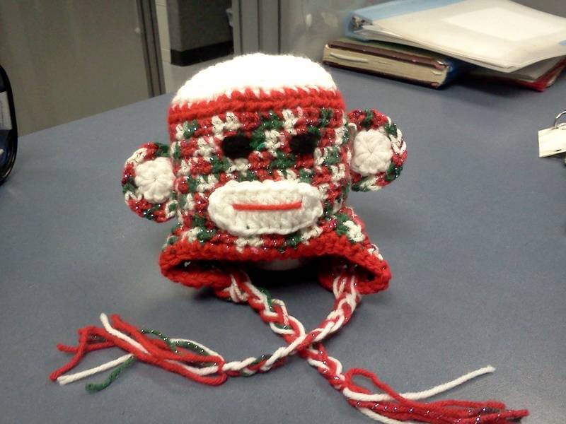 christmas sock monkey hat