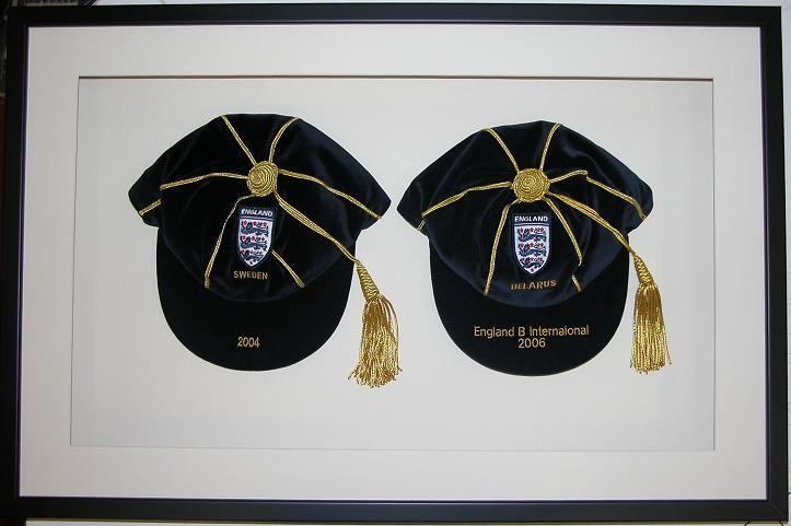England B football caps v Sweden 2004