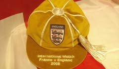 David Beckham's England Football Cap Golden Cap v France 2008