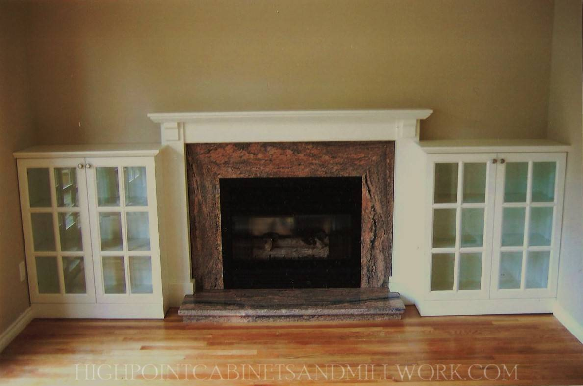 Fireplace Built in Bookshelves, Mantle and Marble Surround