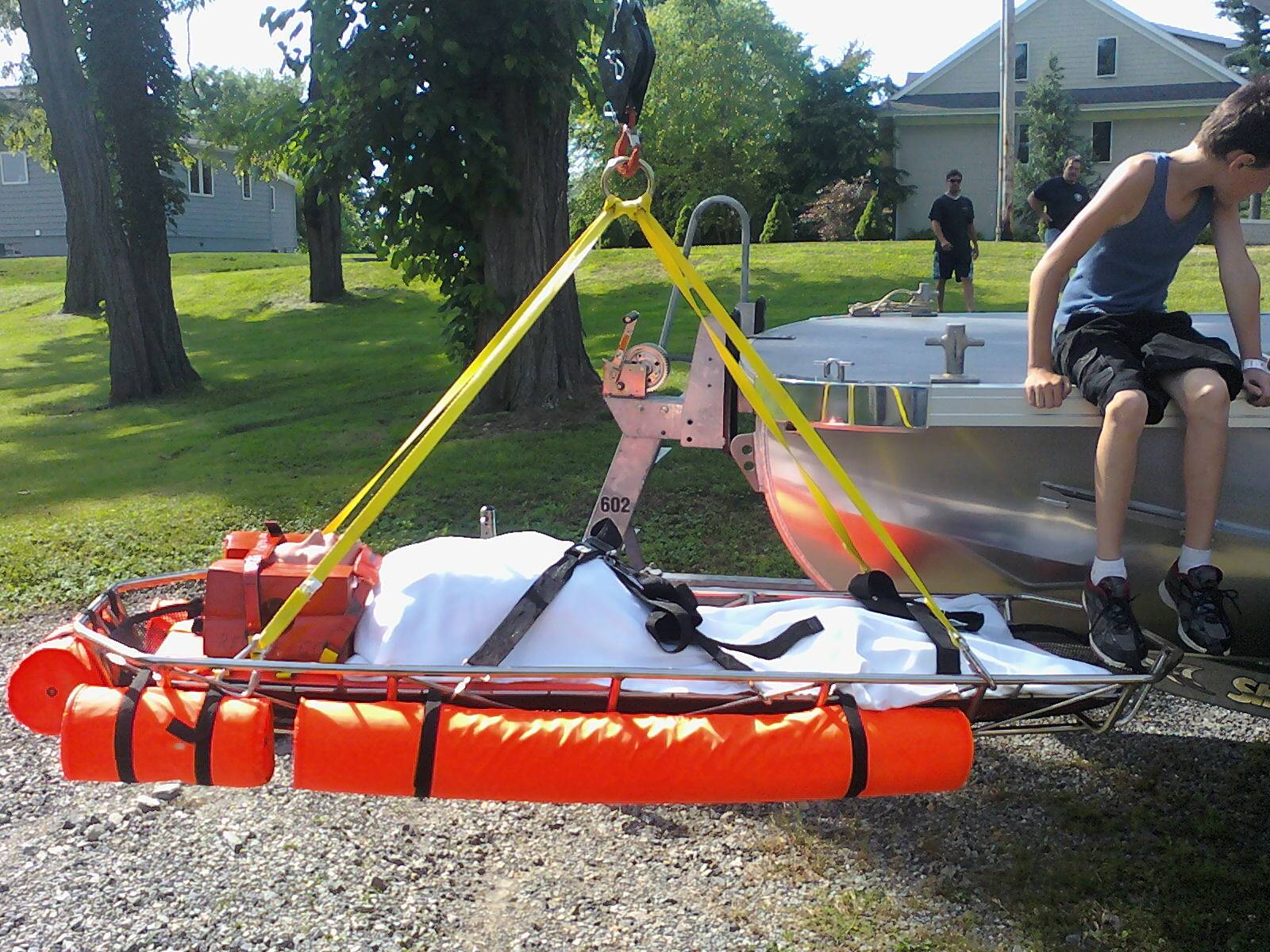 Boat 602's Rescue Crane with Stokes Basket Application...