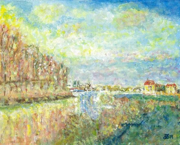 Interpretation of The Seine at Argenteuil by Monet