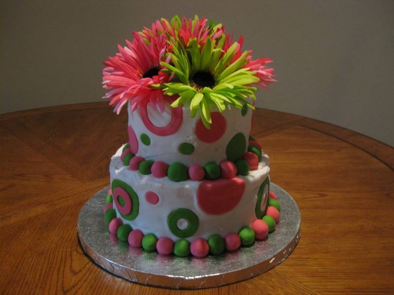 Flowers and Circles Cake