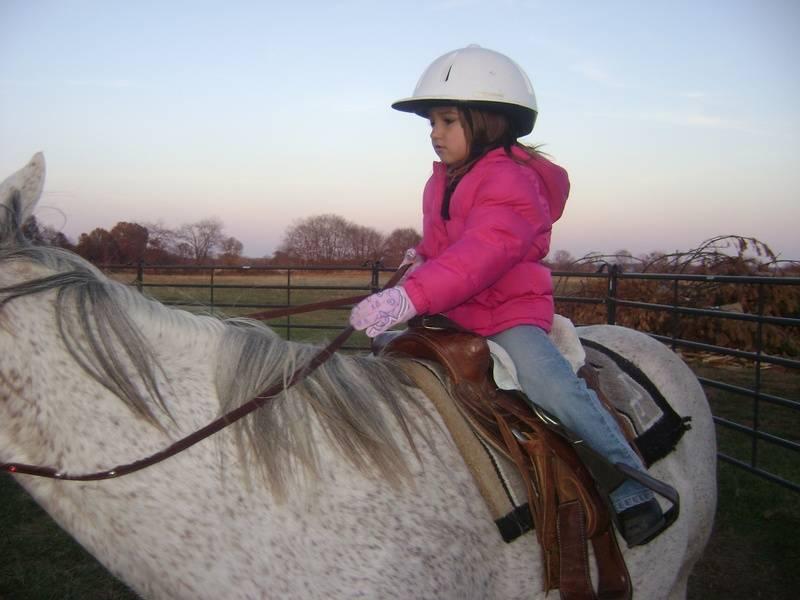 Mackenzie steering the horse