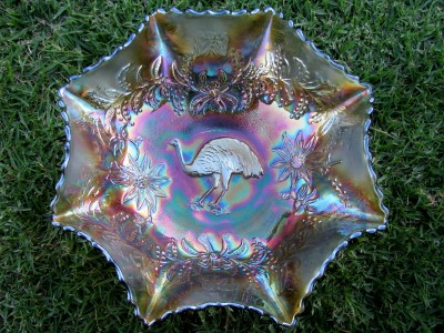 Emu master bowl, Aqua base colour glass
