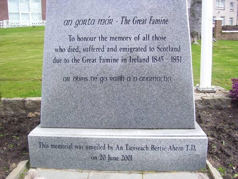 Inscription on the Celtic Cross Memorial