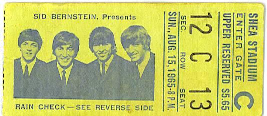 Shea Stadium ticket 1965