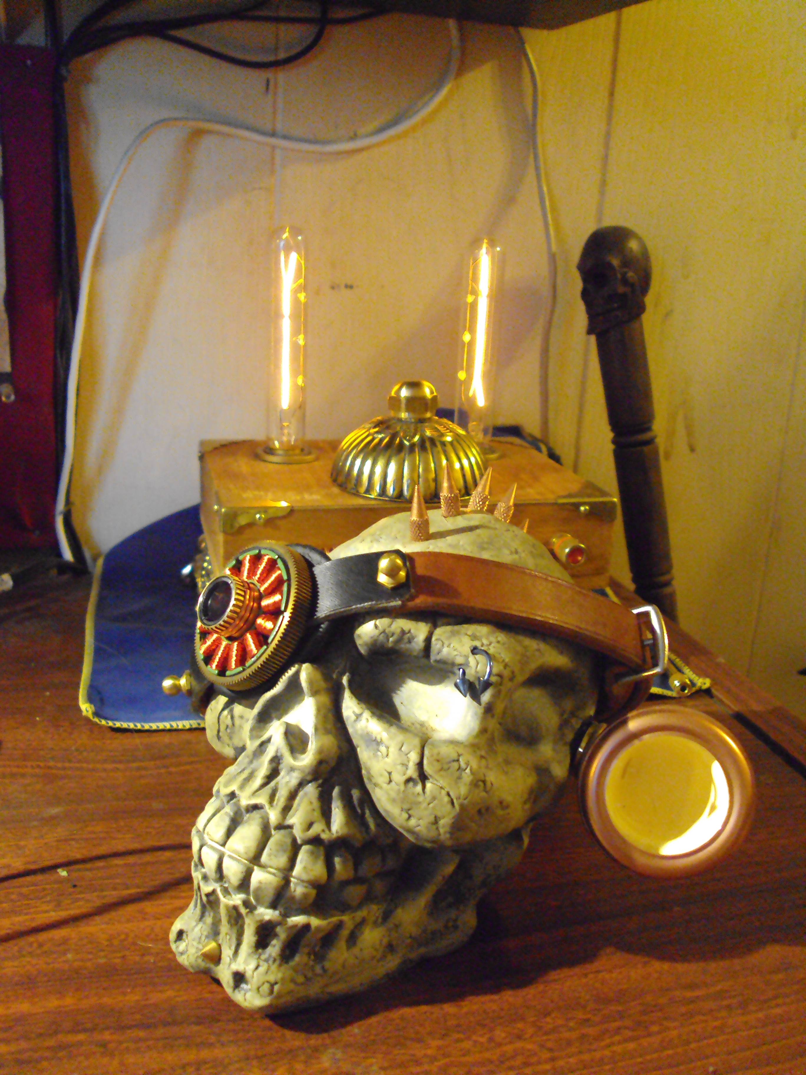 skull with steampunk adornments