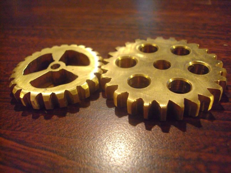 hand filed brass gears
