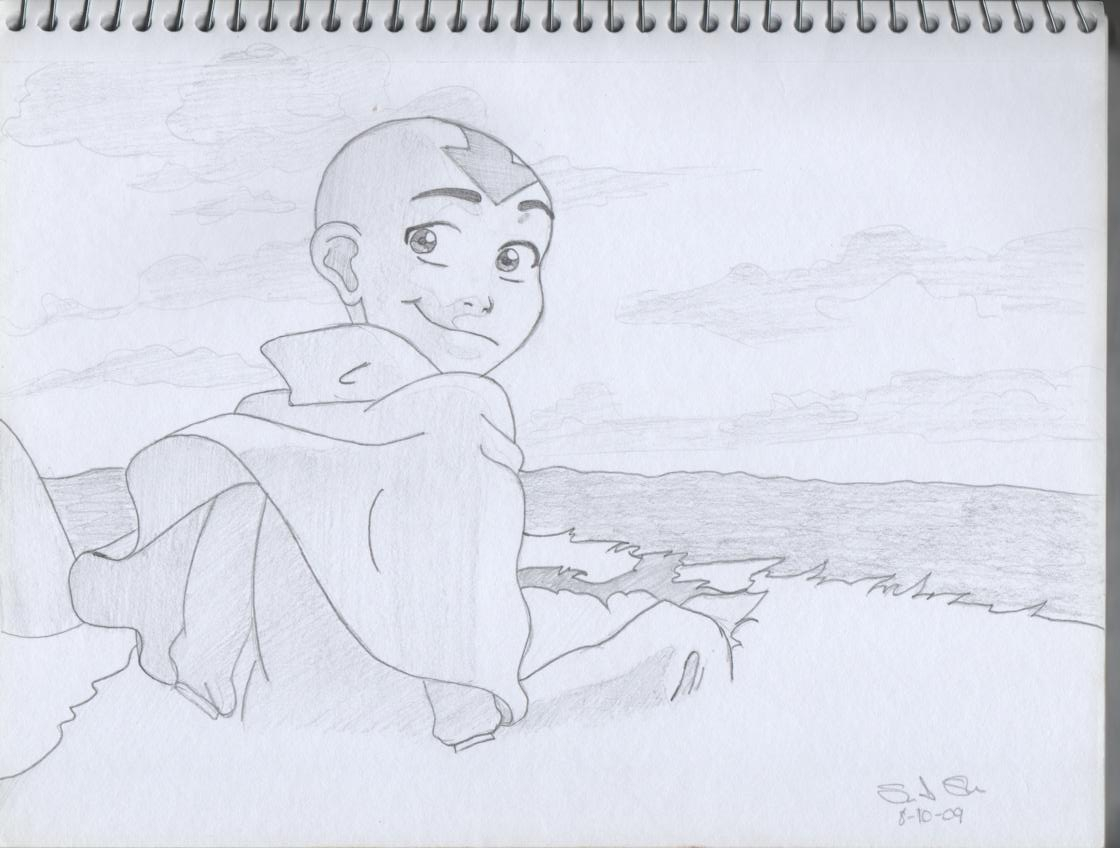 Aang on his flying Bison