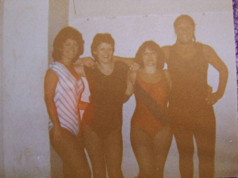 The ladies team in Beirut, Lebanon 1984, from left to right, Susan North, Lady Emma, Suzie McDonald and Leather Lena