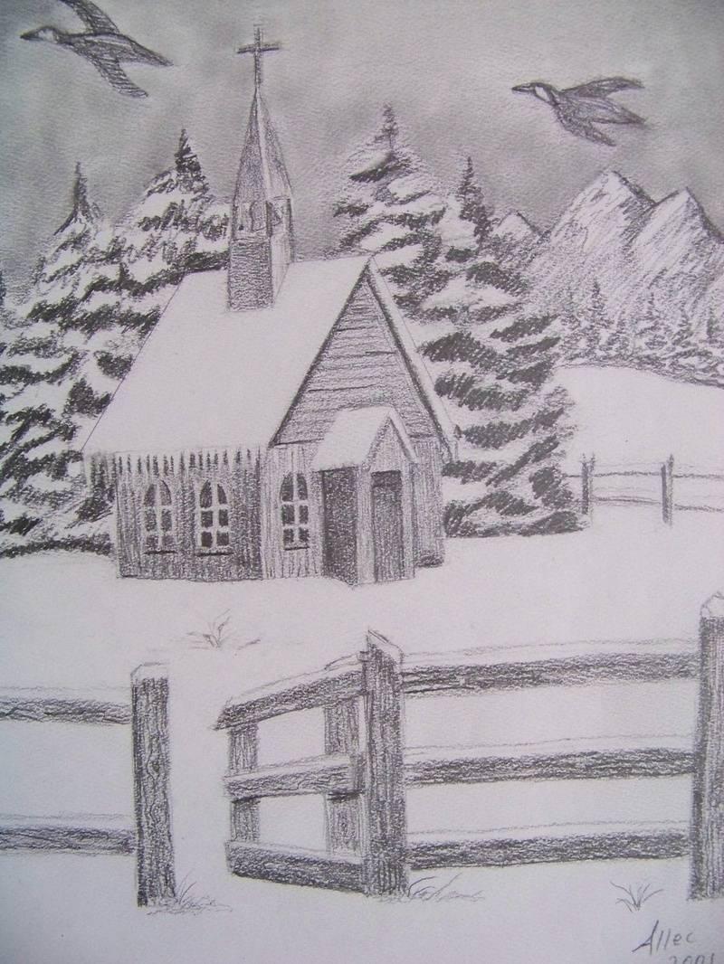 Snowy church
