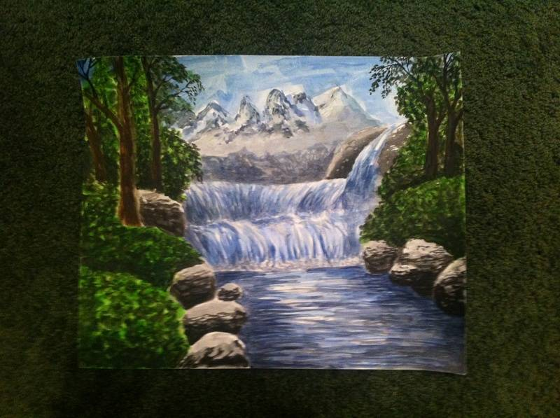 Mountains with waterfall