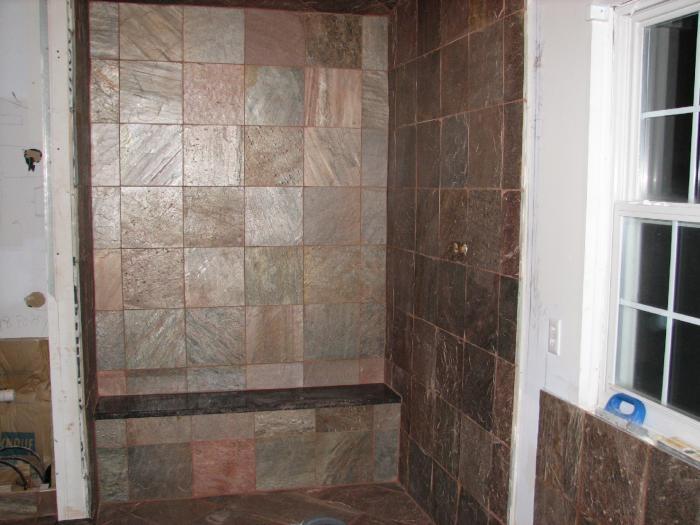 Walk-in shower,  slate
