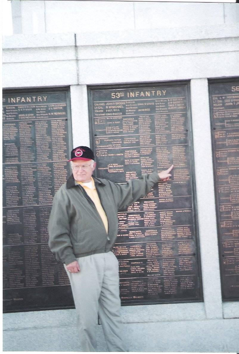 Great grandson (me) pointing to grand dad's name