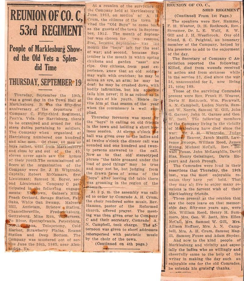 53rd Regmt. Reunion news article