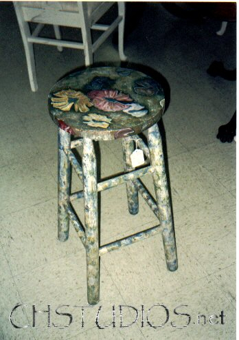 Lilly Pad Stool: Hand-Painted Furniture