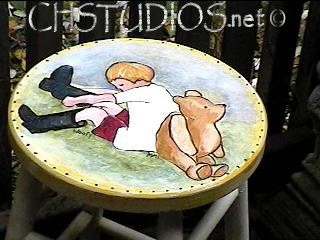 Vintage Winnie the Pooh Stool: Hand-Painted Furniture