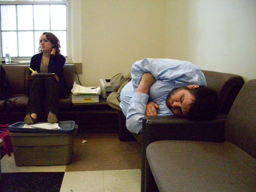 John finishied highlighting and taking nap by Kristen
