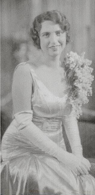 Neva Paddock in her wedding gown