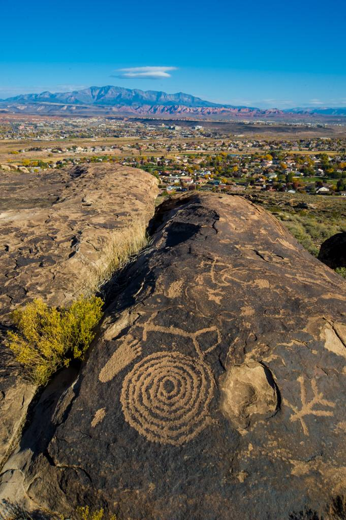 Ancient Rock Art with St George in the Background