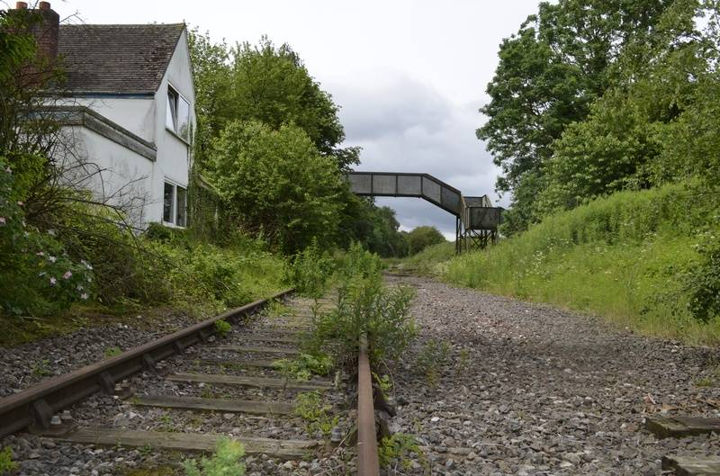 Showing the old Station house and footbridge