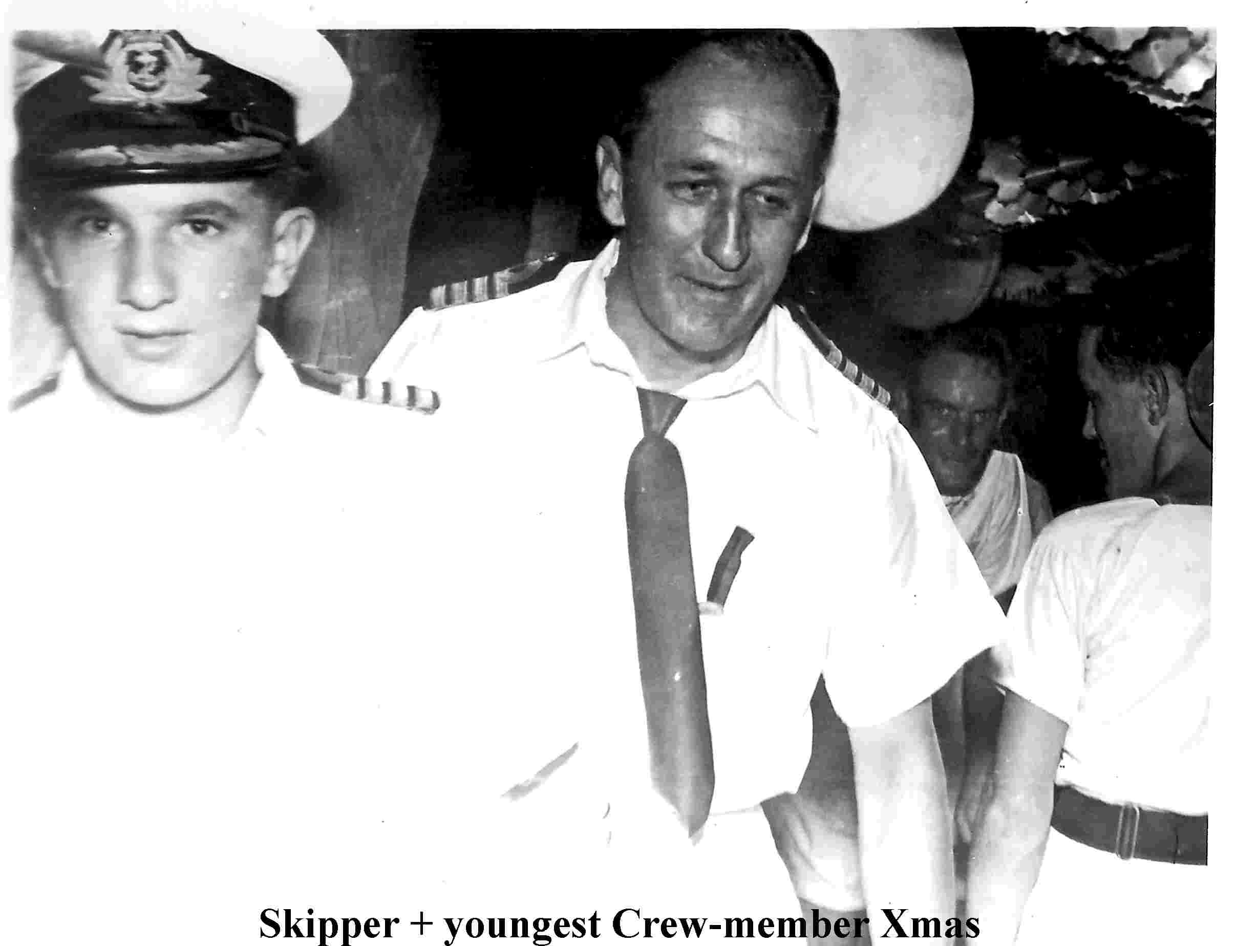 Youngest crew member an Skipper Xmas 1956