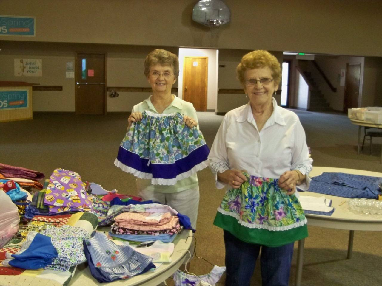 Ladies having fun with skirts and ruffles