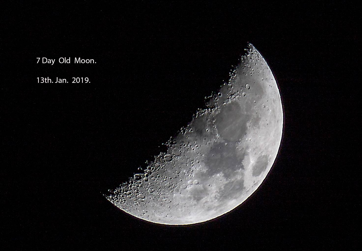 7 Day Old Moon Jan 2019