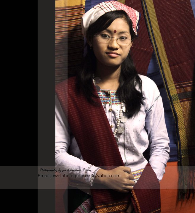 """A Tanchangya girl with the traditional dress called """"pait kabor"""""""