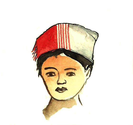 Drawing of a woman head with the traditional headscarf