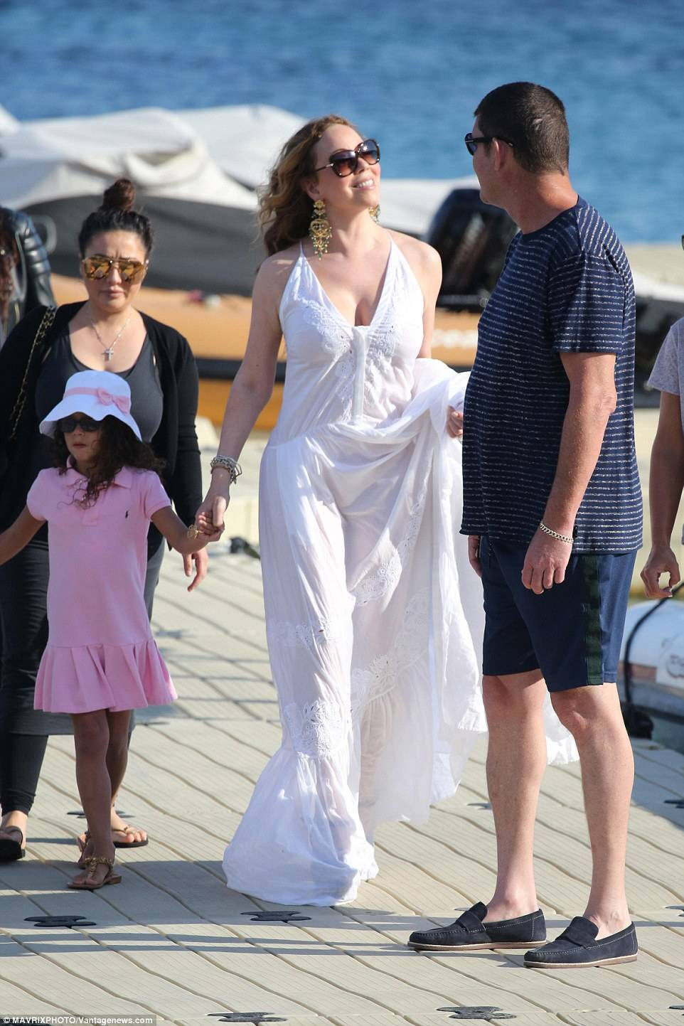 Mariah and James have been soaking up the sun on holiday in Greece with her twins Monroe and Moroccan, five, from her previous marriage to Nick Cannon