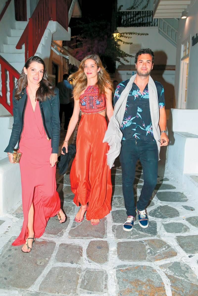 Greek-Egyptian tycoon Karim El Chiaty in Mykonos streets with the bride Brazilian supermodel Ana Beatriz Barros, and Allessandra Ambrosio in long kaftan style , before the 5 million dollars wedding to
