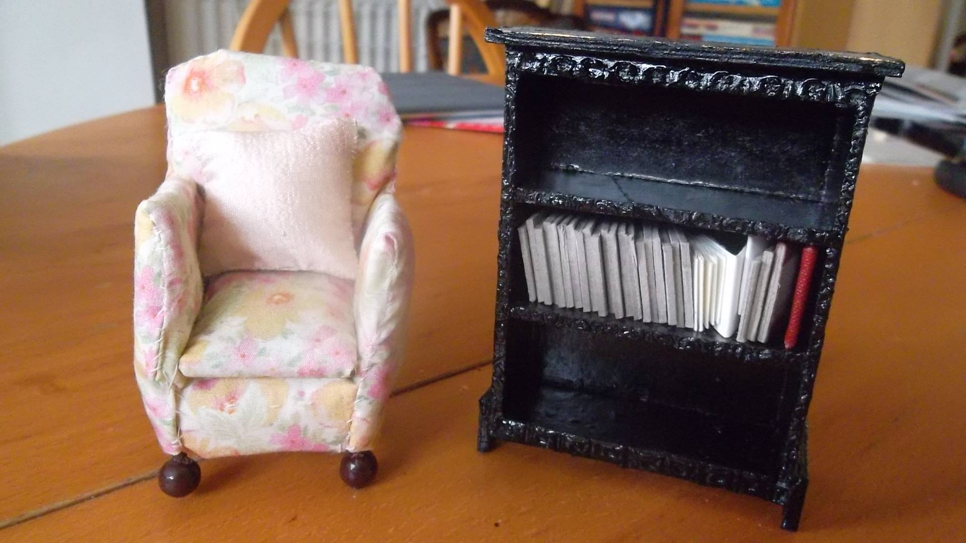 Arm chair and bookcase.No books made yet.